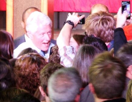Bill Clinton wades into the crowd