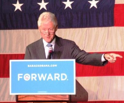 Clinton in reading glasses