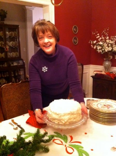 Bobbie Smith Bryant with cake