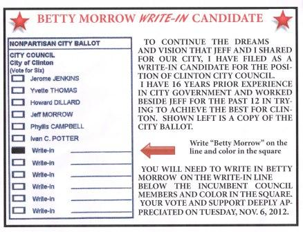 Betty Morrow's ad for her write in campaign
