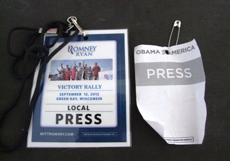 Press passes show marked contrast