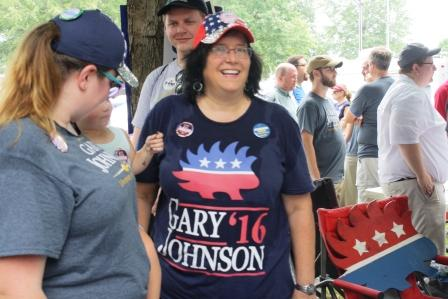 A Gary Johnson supporter at the 2016 Fancy Farm Picnic