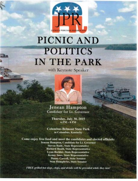 GOP Lt. Gov. Candidate to be at Columbus Park | Kentucky politics, governor's race 2015, Jenean Hampton, Matt Bevin,