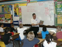 Fulton Fire Chief is Mystery Reader at Carr Elementary