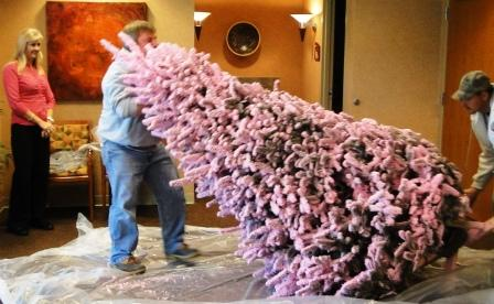 Pink-flocked Christmas tree donated to Baptist Imaging Center
