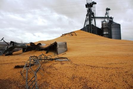 Corn bin explosion spills mountain of corn closing highway