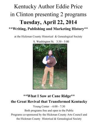Price to share writing and living history on April 22nd