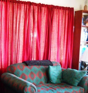 Red, red everywhere in our new homemade living room curtains