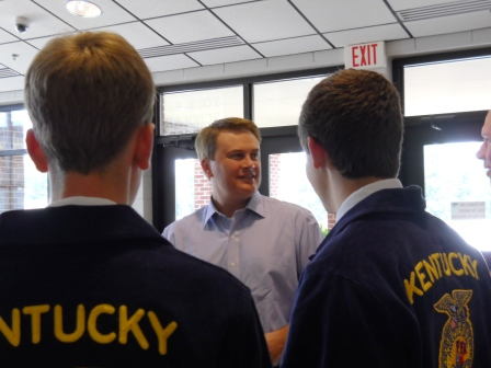 Ag Secretary Jamie Comer speaks with FFA students at HCHS