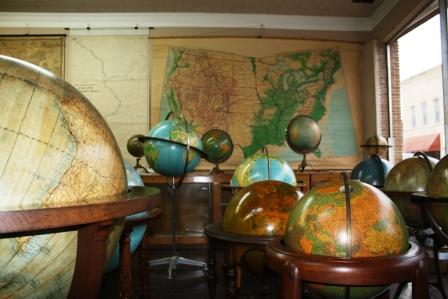 Globes, maps and fine books and posters