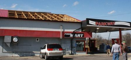 Parkway Mart roof peeled on the south side of the building -