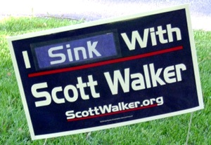 Yard sign during Walker recall election
