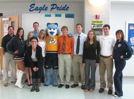 GCHS sports marketing students with Nashville Predators