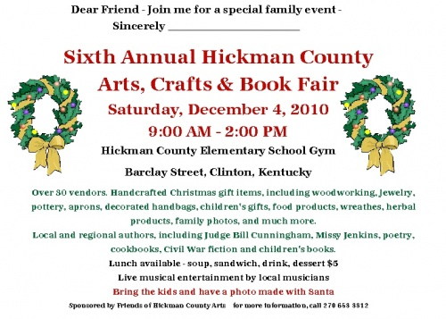 Hickman County Arts Fair set for December 4th