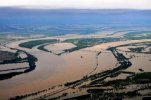 America's two great rivers - the Mississippi and the Ohio both flooding