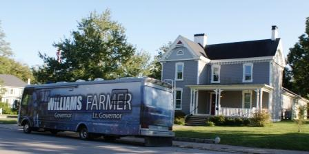 Williams / Farmer campaign sports fancy bus