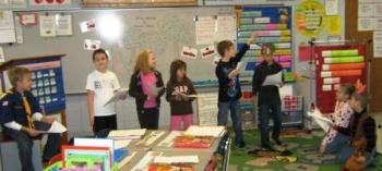Elementary students learn/teach through drama