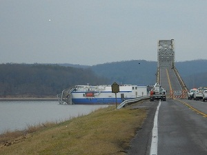 Cargo ship takes out spans of Eggner's Ferry Bridge