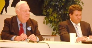 Hubbard and Humphries answer questions from Farm Bureau