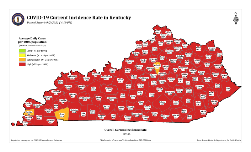 Covid surging back in Kentucky: as of 9/2/21