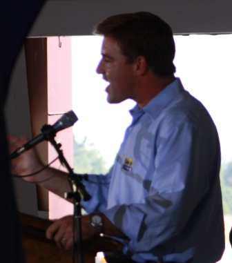 Jack Conway exhorting the crowd